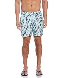 Hula Girl Print Men's Swim Short
