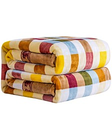 Printed Plaid Flannel Blanket, Full/Queen