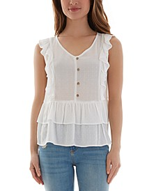 Juniors' Button-Front Ruffled Baby-Doll Top