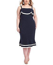 Contrast-Trim Sheath Dress