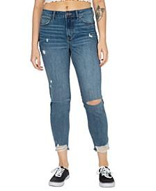 Juniors' Real Curve Frayed-Hem Mom Jeans