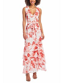 Belted Tiered Maxi Dress