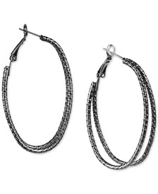 """Hematite-Tone Wire Double Large Hoop Earrings, 2"""", Created for Macy's"""