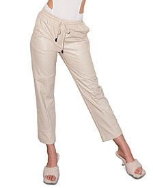 Faux-Leather Pull-On Cropped Pants