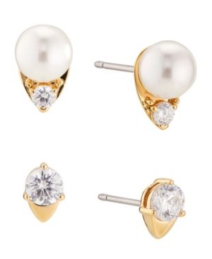 Imitation Pearl and Cubic Zirconia Stud Earring Set