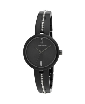 Women's Roman Numeral Black Alloy Half Bangle Watch 30mm