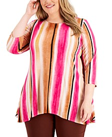 Plus Size Printed Swing Top, Created for Macy's