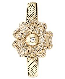 Women's Gold-Tone Flip Crystal Flower Bracelet Watch 35mm, Created for Macy's
