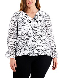 Plus Size Button-Up Top, Created for Macy's