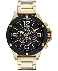 Men's Chronograph Gold Tone Stainless Steel Bracelet Watch 48mm