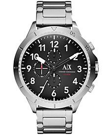 Men's Chronograph Sliver Tone Stainless Steel Bracelet Watch 50mm