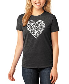 Women's Junior's Premium Blend Word Art Paw Prints Heart T-Shirt