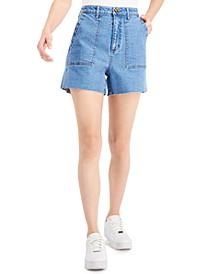 Juniors' Patch-Pocket Denim Shorts