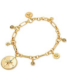 Gold-Tone Pavé & Semiprecious Gemstone Compass Charm Bracelet