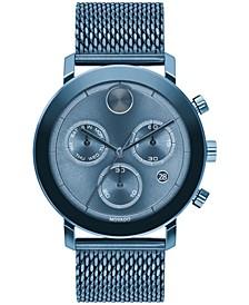 Men's Swiss Chronograph Bold Verso Blue Ion-Plated Steel Mesh Bracelet Watch 42mm