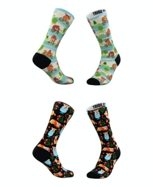 Tribe Socks MEN'S AND WOMEN'S PLAYFUL CORGIS AND BEARS SOCKS, SET OF 2