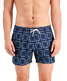 Men's Headline Slim-Fit Paisley Geo-Print Board Shorts