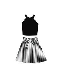 Big Girls Poplin Stripe Skirt Set, 2 Piece Set