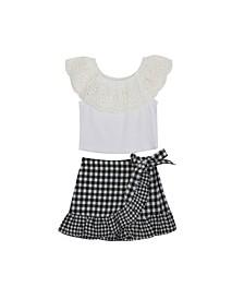 Big Girls Gingham Skirt Set, 2 Piece Set