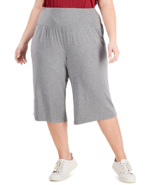 Ideology Plus Size High-Waist Culottes, Created for Macy's