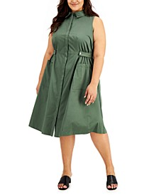 Plus Size Collared Fit & Flare Dress, Created for Macy's