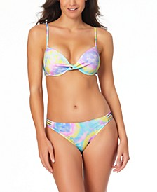 Juniors' Tie-Dyed Pushup Bikini Top & Hipster Bottoms, Created for Macy's