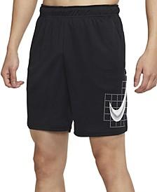 Men's Standard-Fit Dri-FIT Grid Logo-Print Training Shorts