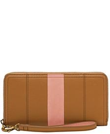 Logan Leather RFID Zip Around Wallet Wristlet