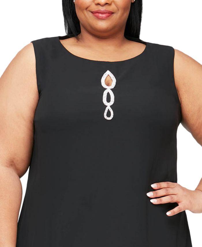 SL Fashions Plus Size Rhinestone Chiffon Dress & Capelet & Reviews - Dresses - Women - Macy's