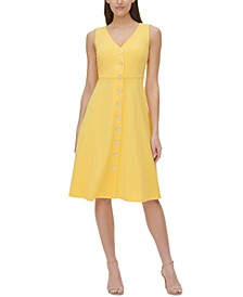 Solid Button-Down A-Line Dress