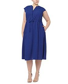 Plus Size Dot-Print Midi Dress