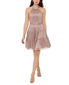 Metallic Tiered-Skirt Dress