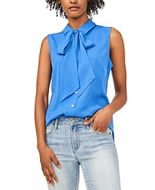 Camryn Tie-Neck Sleeveless Blouse, Created for Macy's