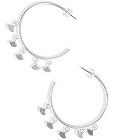 Silver-Tone Fan Charm C-Hoop Earrings