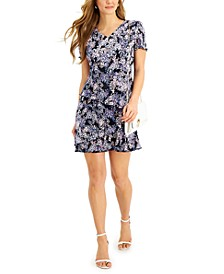 Petite Pleated Floral-Print Tiered Dress