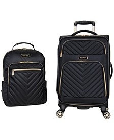 """2-Pc. Chelsea 20"""" Carry-On Matching 15"""" Laptop Backpack Set"""