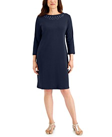 Solid Studded 3/4-Sleeve Dress, Created for Macy's