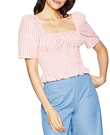 Smocked Gingham Top