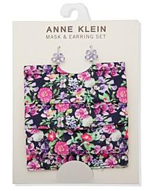 Silver-Tone Flower Stud Earrings & Face Mask Set