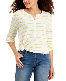 Cotton Striped Henley T-Shirt, Created for Macy's