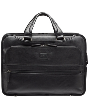 """Beverly Hills Collection Men's Triple Compartment Briefcase with Rfid Secure Pocket for 15.6"""" Laptop and Tablet"""