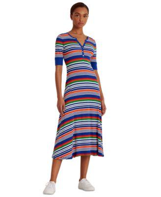 로렌 랄프로렌 Lauren Ralph Lauren Striped Fit & Flare Dress,Sapphire Star Multi