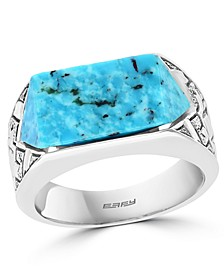 EFFY® Men's Turquoise Ring in Sterling Silver