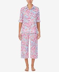 Printed Woven Capri Pants Pajama Set
