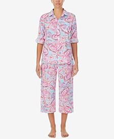 Petite Printed Woven Capri Pants Pajama Set