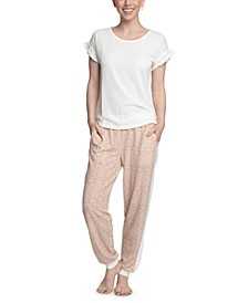 Ruffle-Sleeve Top & Printed Jogger Pants Pajama Set