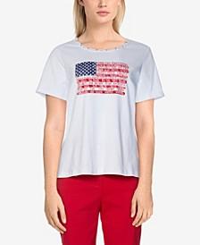 Women's Missy Americana Centre Flag Top