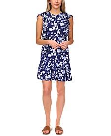 Poppy Ikat Ruffled Dress, Regular & Petite Sizes