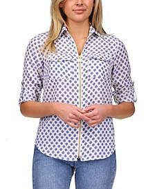 Printed Zip-Front Top, Regular & Petite Sizes