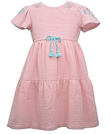 Little Girls Gauze Peasant Dress with Tiered Skirt